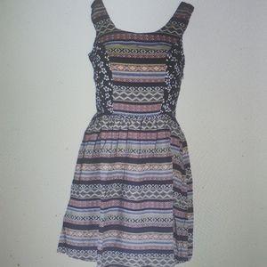 Hem & Thread Dress Mixed Print New blue orange